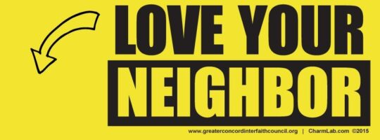 CharmLab designs Love Your Neighbor Signs for a Peace Rally—See them in the NY Times!