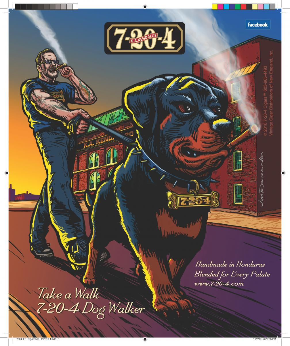 Kurt Kendall  7-20-4 Cigars Dog Walker Magazine Ad Cigar Snob Magazine