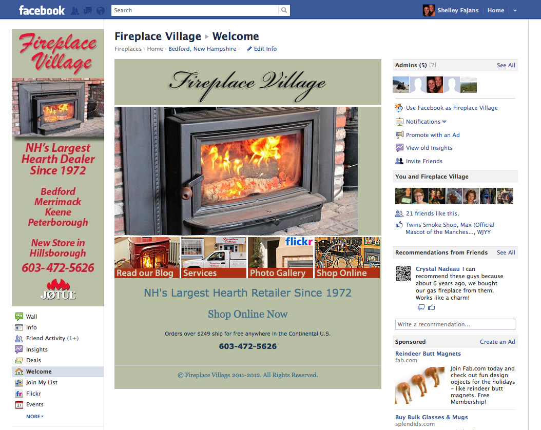 FIreplace Village Facebook Welcome tab