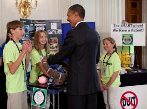 The Inventioneers speak to President Obama - he loves the SMARTwheel!